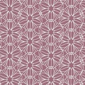 Pink Rose and White Mandala Flowers