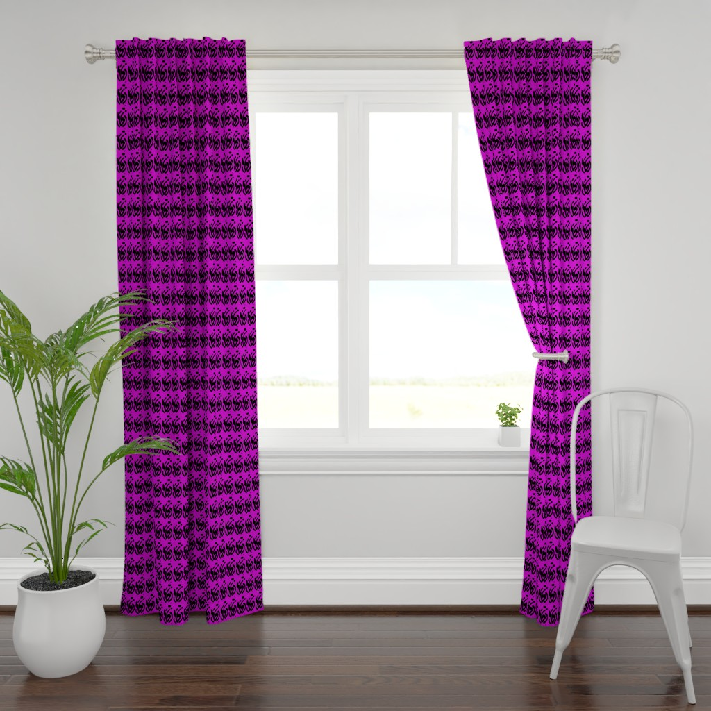 Plymouth Curtain Panel featuring Karibu in Purple Green Black White 1 by tabasamu_design