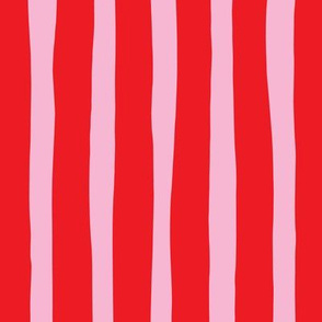 Basic vertical stripes circus theme soft pastel pink hot red