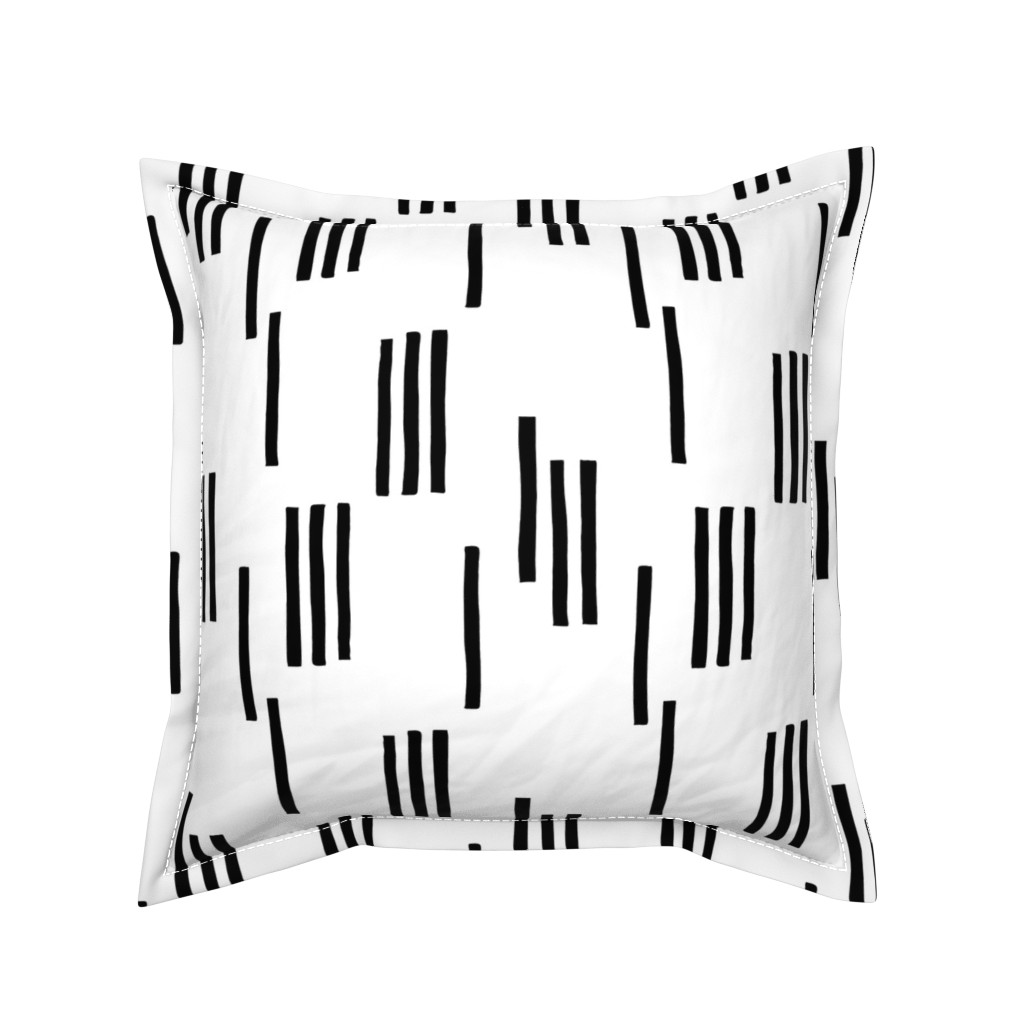 Serama Throw Pillow featuring Basic stripes and strokes monochrome circus theme black and white  by littlesmilemakers
