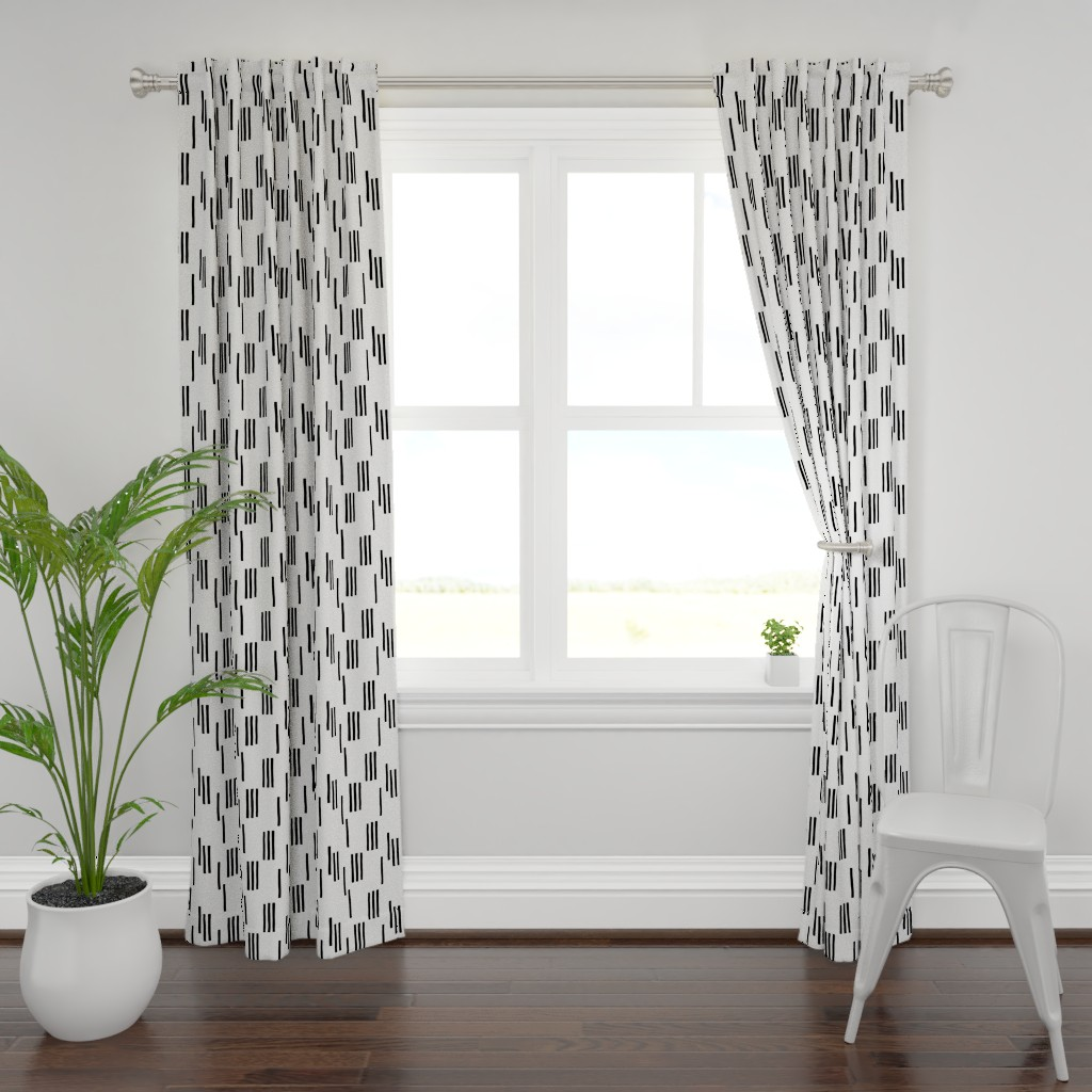 Plymouth Curtain Panel featuring Basic stripes and strokes monochrome circus theme black and white  by littlesmilemakers