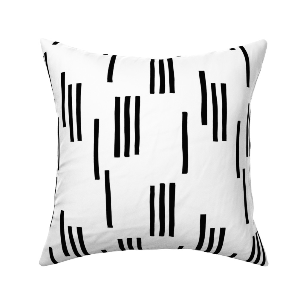 Catalan Throw Pillow featuring Basic stripes and strokes monochrome circus theme black and white  by littlesmilemakers