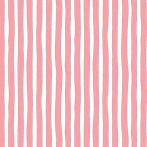 Basic vertical stripes monochrome circus theme soft pastel pink SMALL