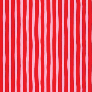 Basic vertical stripes circus theme soft pastel pink hot red SMALL