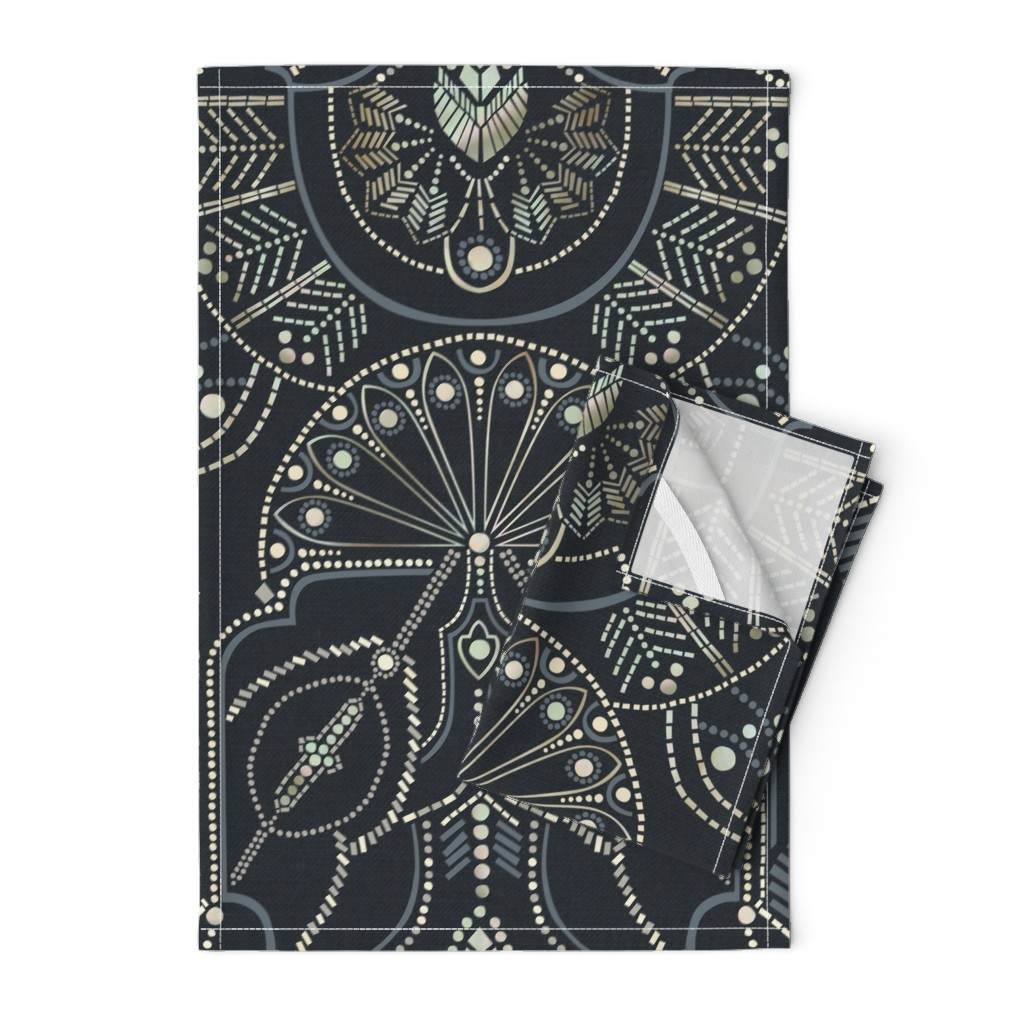 Orpington Tea Towels featuring Ornamental Beaded Deco {Midnight} by ceciliamok