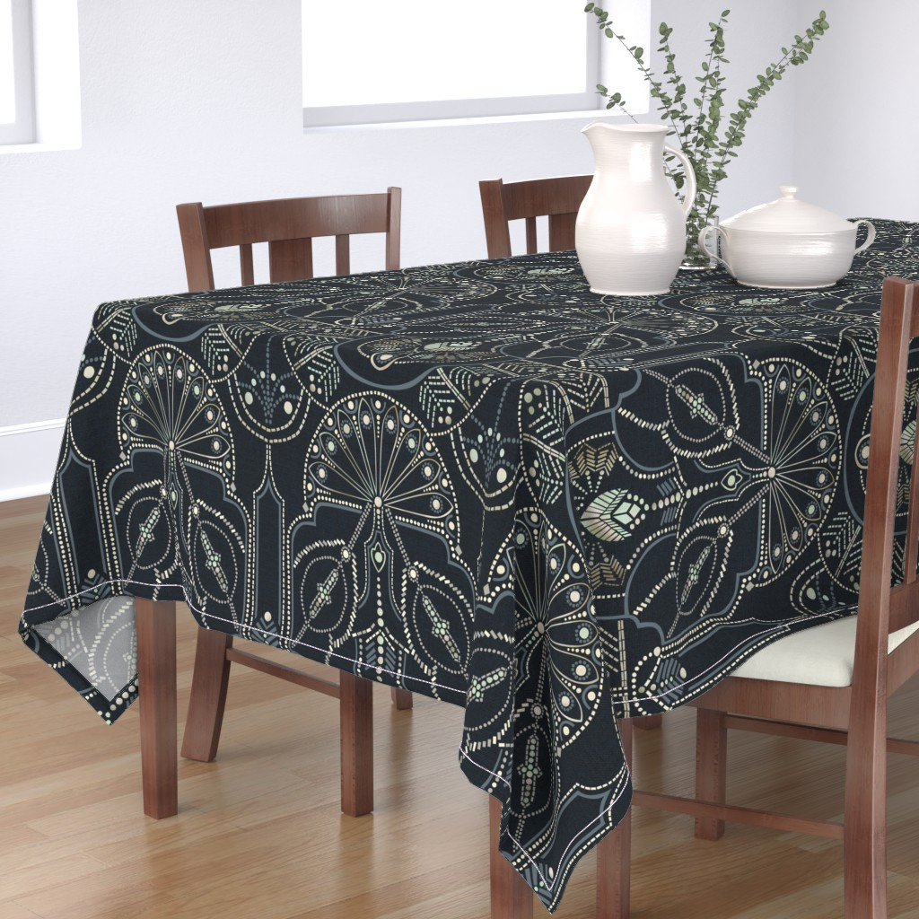 Bantam Rectangular Tablecloth featuring Ornamental Beaded Deco {Midnight} by ceciliamok