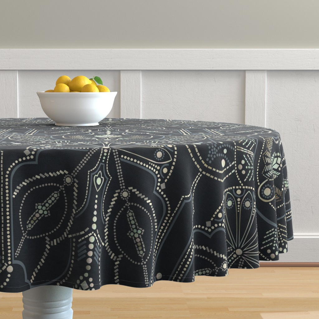 Malay Round Tablecloth featuring Ornamental Beaded Deco {Midnight} by ceciliamok