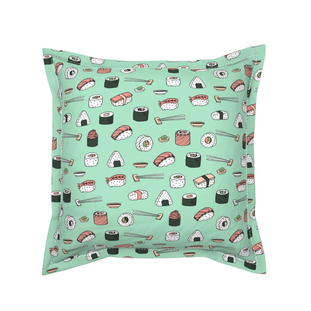 Serama Throw Pillow featuring sushi // japanese food cute kawaii fabric international cuisine mint by andrea_lauren