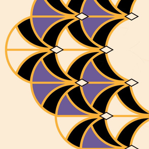 Art Deco Large Scale Purple Ultraviolet Fans