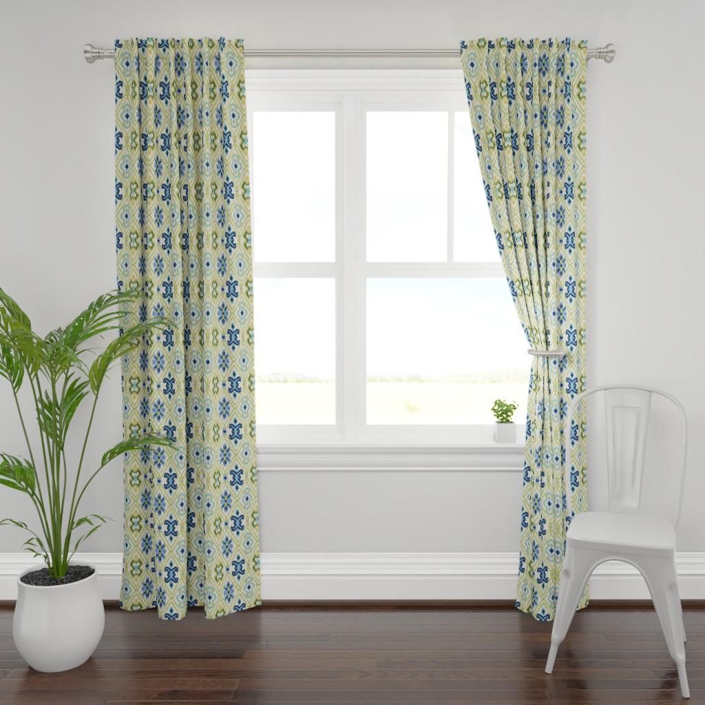 Plymouth Curtain Panel featuring Ikat Diamonds by barbarapixton