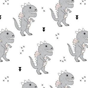 Cute little monster dinosaur dragon baby gender neutral beige