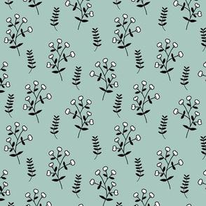 Cotton plant garden sweet winter branch botanical print mint