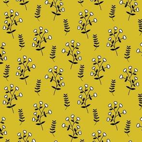 Cotton plant garden sweet winter branch botanical print yellow
