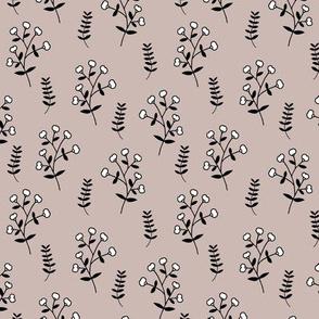 Cotton plant garden sweet winter branch botanical print beige