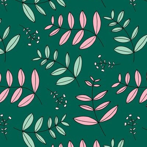 Large leaves and cotton branch botanical garden print lush green and pastel pink