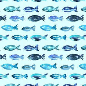Watercolor sardines on blue