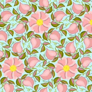 Heart Vines Pink and Green