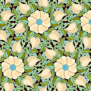 Heart Vines Cream Blue and Turquoise