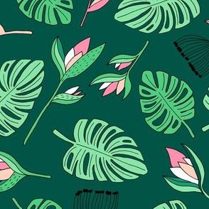 Botanical paradise flower jungle summer garden monstera leaves green