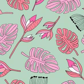 Botanical paradise flower jungle summer garden monstera leaves mint pink