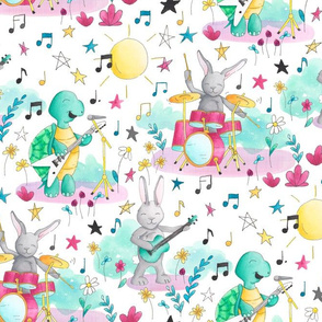 Tortoise and the Hares // band music rabbit bunny turtle kids fabric wallpaper