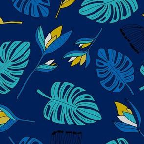 Botanical tropical paradise flower jungle summer garden monstera leaves navy blue
