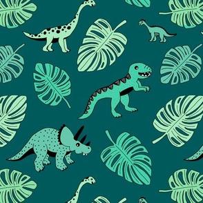 Dinosaur jungle botanical dino garden leaves boys green