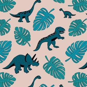 Dinosaur jungle botanical dino garden leaves kids blue teal