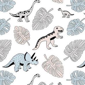 Dinosaur jungle botanical dino garden leaves gender neutral powder blue beige