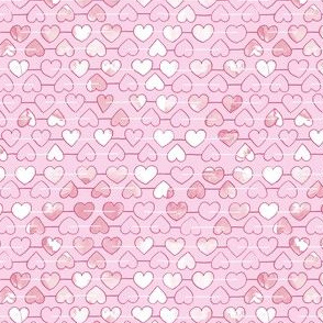 Soft pink hearts with texture mini