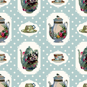 Vintage Tea Set - Mint Background