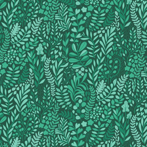 Botanical leaves pattern. Nature design. Dark green.