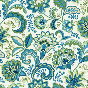 Paisley Floral Blue Green