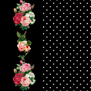 Pink Rose Bouquet Border _ Black Background
