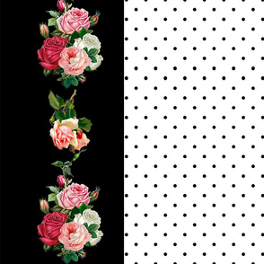 Pink Rose Bouquet Border - White Background