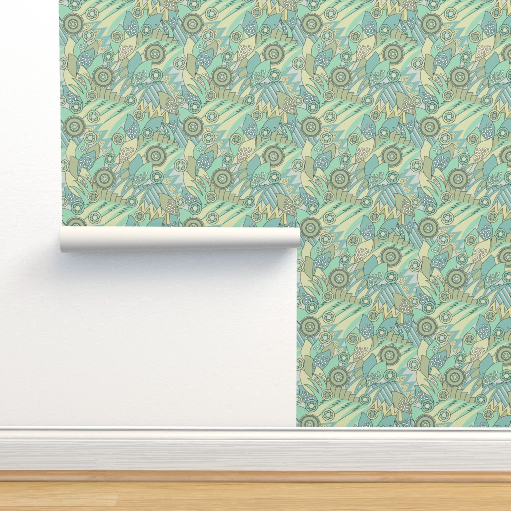 Isobar Durable Wallpaper featuring Deco Shapes Greens by vinpauld