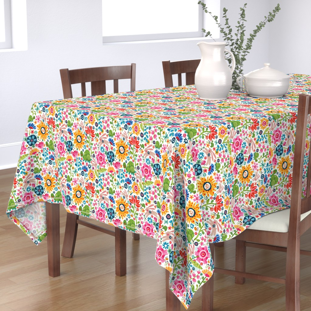 Bantam Rectangular Tablecloth featuring Tortoise And Hare by sarah_treu
