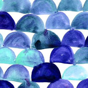 Watercolor fish scale - blue