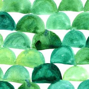 Watercolor mermaid scales - green