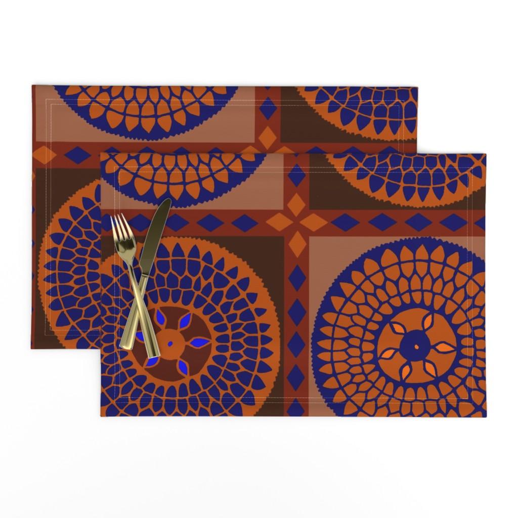 Lamona Cloth Placemats featuring Swirly Rust and Black by vagabond_folk_art