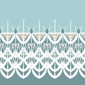 Lace Border Print in Aqua and White