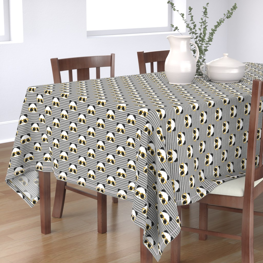 Bantam Rectangular Tablecloth featuring pandas with glasses - grey stripes gold by littlearrowdesign