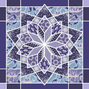 Star Quilt Squares in Violet, Wholecloth Quilt