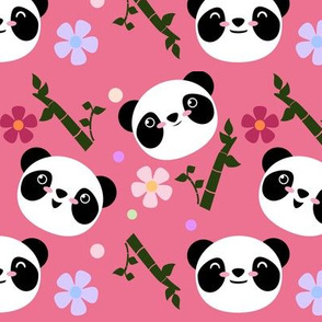 Kawaii Panda Faces in Pink