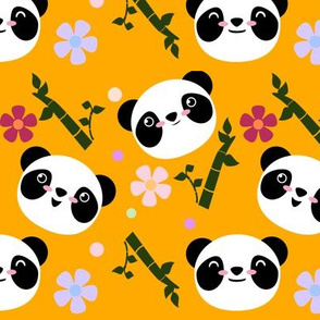 Kawaii Panda Faces in Gold