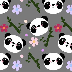 Kawaii Panda Faces in Gray
