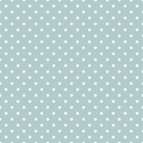Cream Polka Dots on Mint Background