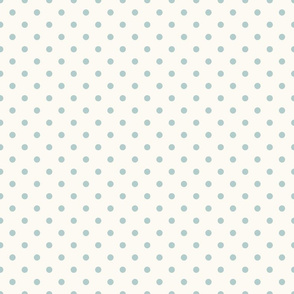 Mint Polka Dots on Cream Background