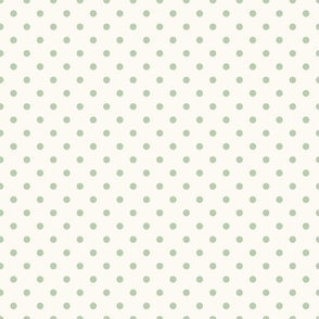 Green Polka Dots on Cream Background