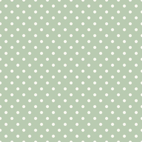 Cream Polka Dots on Green Background